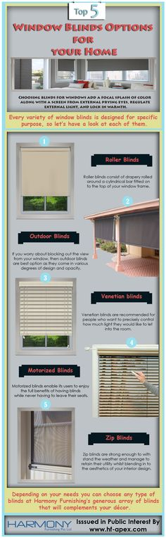 Choosing blinds for windows add a focal splash of color to along with a screen from external prying eyes, regulate external light, and lock in warmth. Check out the infographic to know about window blinds options.
