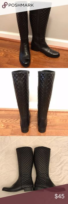 VANELi Womens Radio Knee-High Quilted Boots VANELi Womens Radio Knee-High Quilted Black Leather Riding Boots Size 8 Selling on Amazon for $125 Excellent condition, only worn a few times Vaneli Shoes Winter & Rain Boots