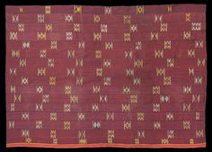 Unique early Ewe chief's cloth in a previously unknown style. Distinctive geometric supplementary weft float motifs in pale blue, yellow, an...
