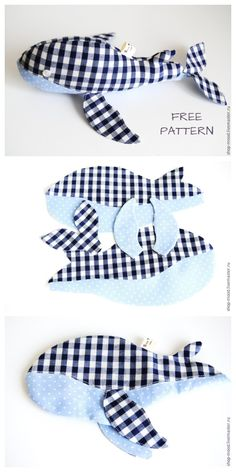 sewing gifts to make Sewing Toys, Baby Sewing, Sewing Crafts, Sewing Projects, Diy Projects, Animal Sewing Patterns, Sewing Patterns Free, Free Sewing, Whale Pattern