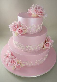 Hot Pink and Lime Green Cascading Flowers Wedding Cake Cascading