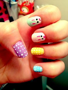 Colorful Easter Bunny Nails, Holiday Party Makeup, Polka Dot Nail Designs for Easter #2014 #easter #bunny #nails www.loveitsomuch.com