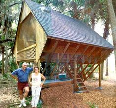 Thunderhouse Want to build your dream house for only $2,000? Pete and Arlene Charest's low-impact hideaway cabin provides the answer with their diamond shaped house.