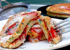 strawberry funfetti pancakes...not my thing but I certainly think Ms Kitty (a friend) would LOVE these.
