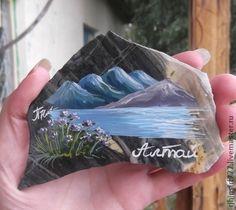 Оптом Роспись по камню Магнит Алтай Магнит из натурального камня - голубой