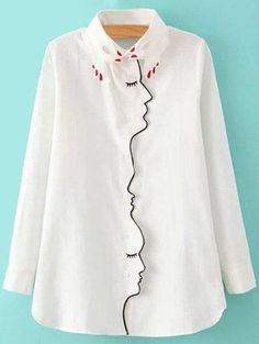 #Zaful - #Zaful Shirt Collar Figure Pattern Embroidery Shirt - AdoreWe.com