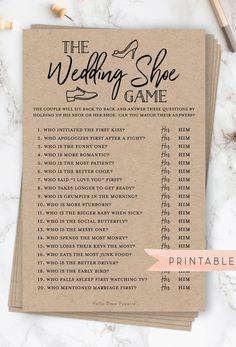 The Wedding Shoe Game Virtual Printable Bridal Wedding Couples Shower Engagement Party Printable Cute Wedding Ideas, Perfect Wedding, Dream Wedding, Creative Wedding Ideas, Different Wedding Ideas, Wedding Ideas For Guests, Wedding Party Gift Ideas, Modern Wedding Ideas, Summer Wedding Ideas
