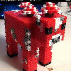 Mooshroom Minecraft perler bead art by Josie