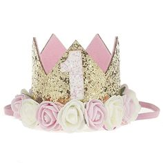 """SUPER-BAB Festival Birthday Party Lace Letter Flower Crown Headband DIY Rose Gift Children Girls Hair Accessories (Pink and White Flower """"1"""")"""