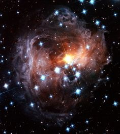 The light echo around the star V838 Monocerotis as seen by the Hubble Space Telescope in November 2005.