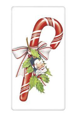 Christmas Candy Cane with Santa Tag 100% Cotton Flour Sack Dish Towel Tea Towel