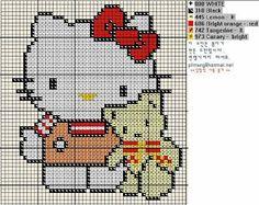 Free Hello Kitty with Teddy Bear Cross Stitch Chart Pattern