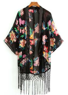 Floral Fringe Boho Kimono - perfect for layering over shorts and a tank top!