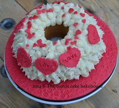 Bespoke love themed bundt cake