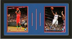Two framed 8 x 10 inch Los Angeles Clippers photos of Chris Paul, double matted in team colors to 24 x 12 inches.  The lines show the bottom mat color.  $69.99 @ ArtandMore.com