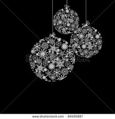 christmas embroidery  black and white   Black And White Christmas Balls Stock Photo 89495887 : Shutterstock