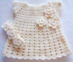 Baby Crochet Flower Dress Headband Set Cream by Sock Monkey 77, via Flickr