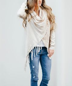 Another great find on #zulily! Oatmeal Fringe Drape Cardigan - Women by So Perla #zulilyfinds