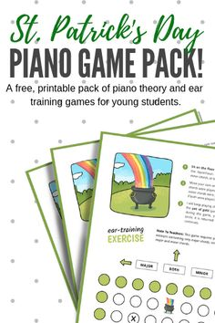A free pack of piano lesson theory and ear training games for the young piano students in your studio St Patrick's Day Music, Music For Kids, Music Activities, Teaching Activities, Teaching Ideas, Piano Lessons, Music Lessons, Piano Games, Music Games