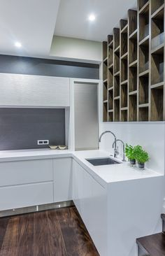 Featured in International Book publication 'Kitchen Inspiration' Stainless steel, Silestone Quartz benchtops, with textured lacquered wall cabinetry, electronic opening drawers and doors Oriental, Glamour, Laundry In Bathroom, Cool Kitchens, Pantry, Designer, Kitchen Cabinets, Interior Design, Home Decor
