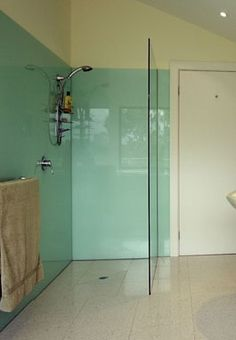 Colored glass walls on pinterest colored glass glass for Coloured glass panels