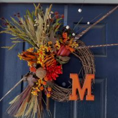 DIY fall wreath! its even my letter :)