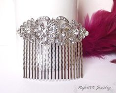 Vintage style bridal hair comb crystal wedding hair comb by nefertitijewelry2009, $34.00