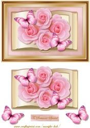 Book With Pink Roses & Butterflies