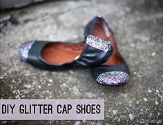 #DIY Glitter Shoes via Petit Elefant #refashion #style