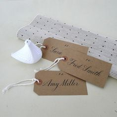 Wedding Calligraphy for Place Card, Escort Card, Name Card,Table Card, Favor Tag. $25.00, via Etsy.