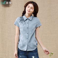 茵曼 2013夏裝新款 翻領繡花修身顯瘦短袖襯衫女 襯衣 / ¥ 149