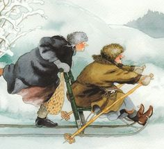 Op de slee = artist Inge Look (Finland) Old Lady Humor, Old Folks, Whimsical Art, Friends Forever, Old Women, Old Ladies, Illustrators, Folk Art, Cool Photos