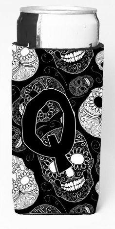 Letter Q Day of the Dead Skulls Black Ultra Beverage Insulators for slim cans CJ2008-QMUK