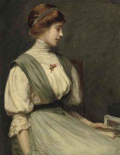 William Mainwaring Palin,Portrait of Nora Allen, seated half-length, reading a book (1910)    Palin (1862-1947),