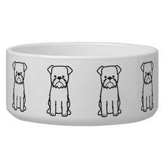 Brussels Griffon Dog Cartoon Dog Water Bowls