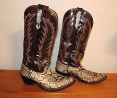 Nocona Snakeskin Cowboy Boots Mens 6 EE Wide Womens 8 by VintyThreads only $94