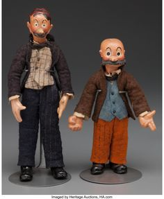 Mutt and Jeff jointed metal and composition dolls with original felt clothing, Swiss composition dolls by Bucherer. From the estate of Richard Wright. Richard Wright, Old Dolls, Composition, Auction, Hipster, 1930s, Leather, Felt, Character
