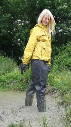 Glamour in Wellies Yellow Coat, Yellow Raincoat, Ladies Wellies, Hunter Wellies, Wellington Boot, Vintage Boots, Rain Wear, Black Rubber, Mud