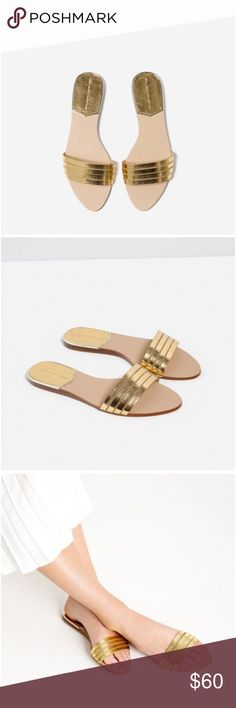 ❗️Poshmark Editor's Choice ❗️Zara gold strap slide Zara gold metallic strappy slides size 9 / 40 EU Zara Shoes Flats & Loafers