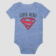 Baby Boys' Short Sleeve Superman Super Hero Bodysuit - Royal 0-3M, Infant Boy's, Size: 0-3 M, Blue