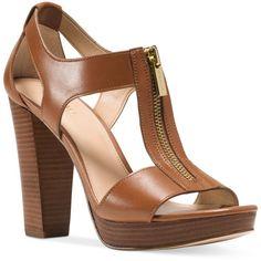 Michael Michael Kors Berkley T-Strap Platform Dress Sandals ($120) ❤ liked on Polyvore featuring shoes, sandals, luggage, t-bar sandals, t strap sandals, platform sandals, michael kors shoes and michael kors