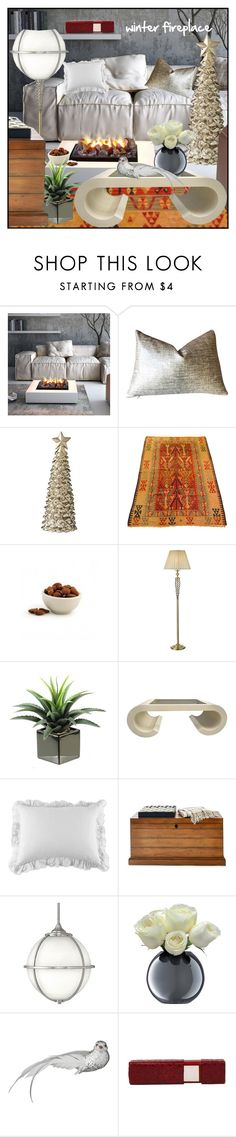 """winter fireplace"" by din-sesantadue ❤ liked on Polyvore featuring interior, interiors, interior design, home, home decor, interior decorating, Lene Bjerre, Karl Lagerfeld, Pom Pom at Home and Mark & Graham"