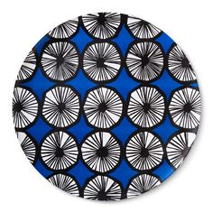 Round Serving Tray - Appelsiini Print - Blue