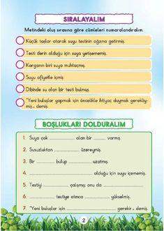 Karga ve Su (Okuduğumu Anlıyorum) 2 ve 3.SINIF Allah Islam, Olay, Grade 1, Learning, Study, Teaching, Studying, Education