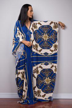 Blue and white boho kaftan dress