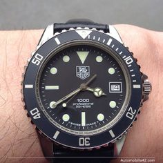 TAG Heuer 1000 Submariner Man black dial on a black leather band 980.013L