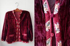 Vintage Hippie Velvet Bordeaux Jacket Ethnic Gypsy by DorisVintage