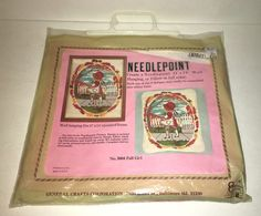 General Crafts Needlepoint Kit FALL GIRL No 5004 Vintage Wall Hanging or Pillow #GeneralCrafts