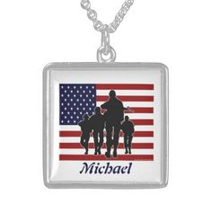 USA Flag and Soldiers Personalized Silver Necklace. Add your name! #Military #Patriotic #Necklace #USA