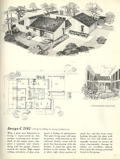 Love the layout, not the roof line. Vintage House Plans, 1960s homes, mid…